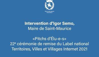 Intervention d'Igor Semo, Maire de Saint-Maurice, au Label Villes internet 2021